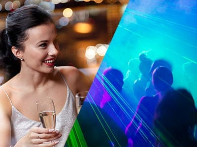 Split image of a girl drinking champagne and people on a dancefloor in nightclub with blue strobe lights