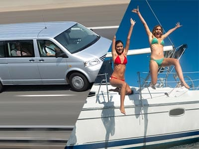 Split image of a big silver taxi driving on road and two females in their bikinis jumping off a boat
