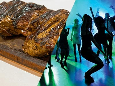 Split image of a grilled steak and women dancing on dance floor