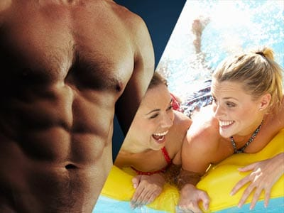 Split image of a man showing his torso and his abdominals and two girls in a pool on a inflatable together