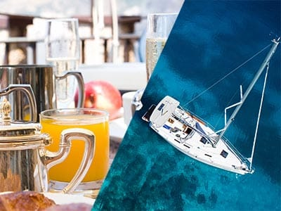 Split image of champagne with orange juice and metal teapots on a table and a catamaran in the clear blue water