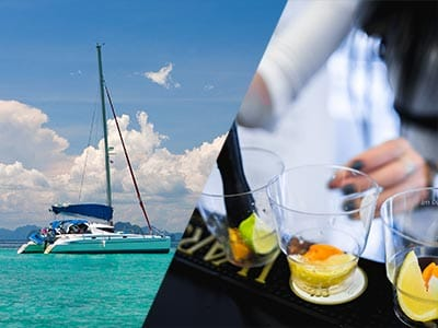 Split image of a catamaran in clear blue water and a girl crushing fruit in a glass