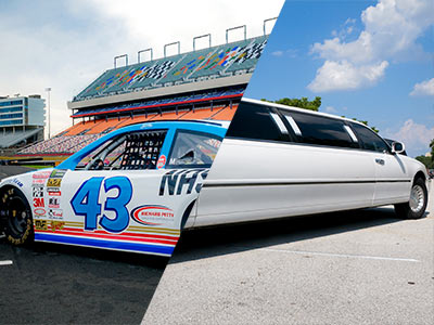 A split image of a NASCAR and a white limo parked outside