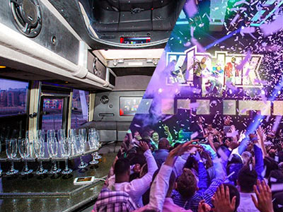 A split image of the inside of a party limo and people dancing in a club with purple lighting