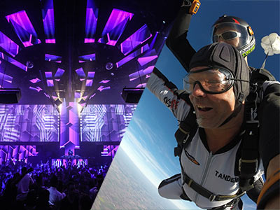 A split image of a nightclub with purple lighting and people dancing and two men doing a tandem skydive