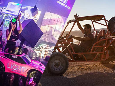 A split image of a woman in a modern nightclub under pink lights and a man posing in a 4-seater off-road buggy