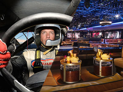 A split image of a driver in a helmet behind the wheel of a vehicle and VIP tables in a club
