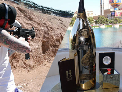 A split image of someone aiming a gun and a bottle of alcohol on a table, outside