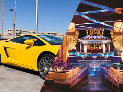 A split image of a yellow Lamborghini and VIP tables inside a nightclub
