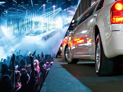 People in a nightclub and a limo driving through a street