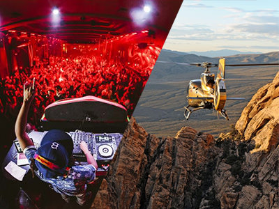 A DJ in a nightclub and a helicopter flying over the grand canyon