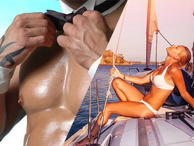 A split image of a man with no top on and a bow tie and a woman relaxing on a boat