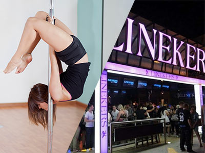 A split image of a girl on a pole and the exterior of Linekers