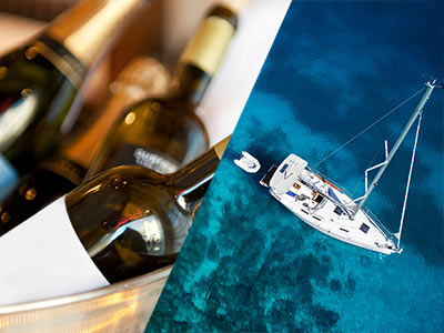 A split image of bottles of alcohol and a catamaran boat on the water