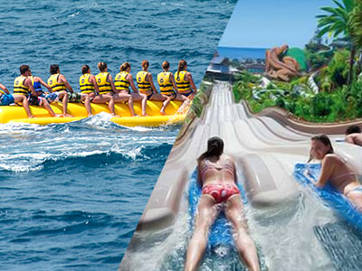 A split image of a group of people on a banana boat and two women going down a water slide