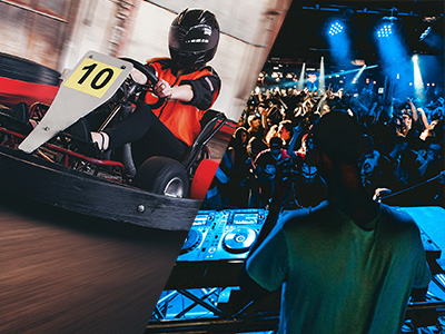 A man karting and a DJ in a nightclub