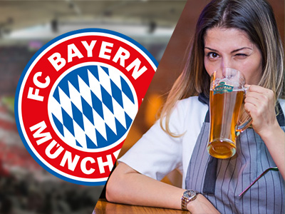 FC Bayern football badge and a woman drinking a pint