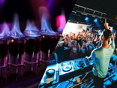 A split image of some flaming shots and a DJ with a crowd in the background