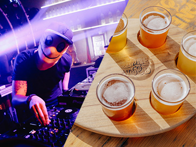 A man DJing and a selection of beer