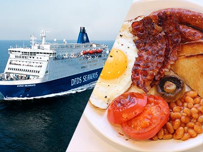 A split image of The DFDS Seaways and an English breakfast