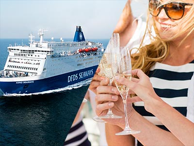 A split image of The DFDS Seaways and a woman holding a glass of Champagne