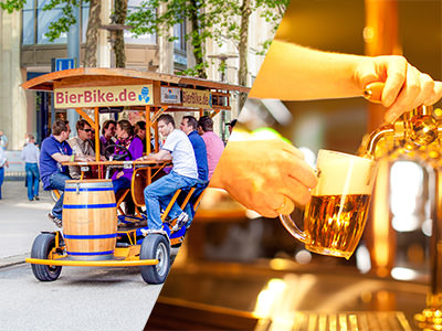 A group of men on a beer bike and a man pouring a pint of beer