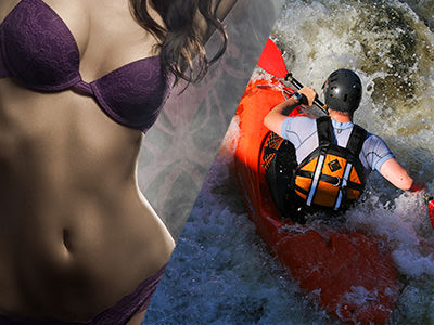 A woman in her underwear with a smokey background and a man kayaking