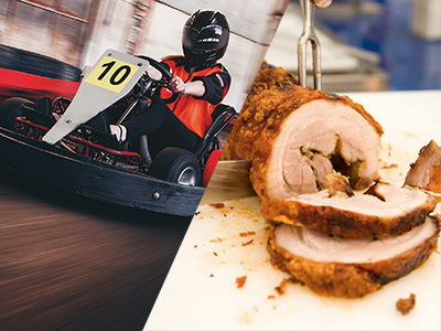 A man in a go kart and a german meal being prepared