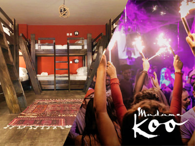 A split image of an apartment with wooden bunk beds and a nightclub full of people dancing while women carry sparklers