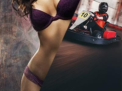 Split image of a woman in matching purple underwear and a guy in a go kart on a track
