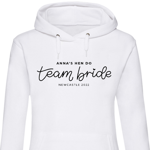 Team Bride Lettering Hen Hoodies