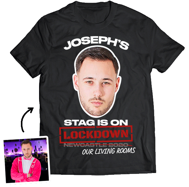 Stag Do Photo T-shirt – Photo, Text, Location on Black T-shirt