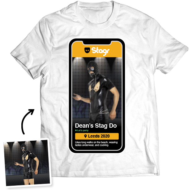 Stag Do Photo T-shirt – Photo, Text, Location on White T-shirt