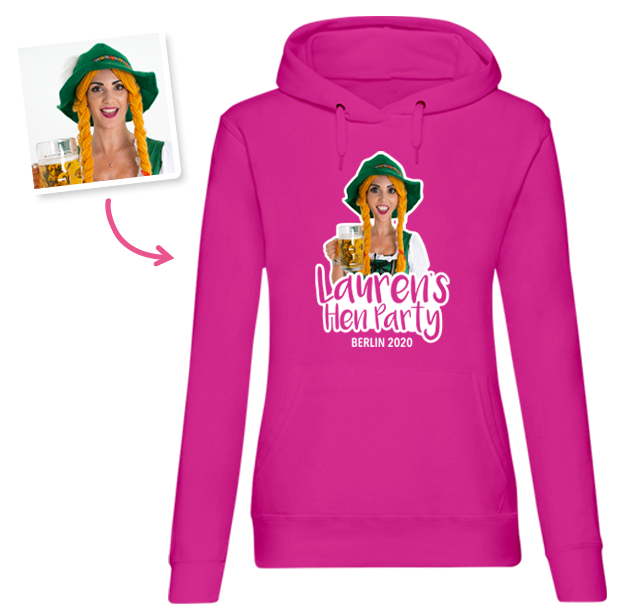 Hen Do Caricature from Photo T-shirt – Caricature, Text, Location on green Hoodie