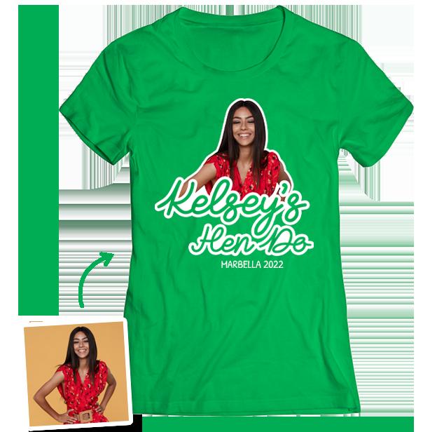 Hen Do Photo T-shirt – Photo, Text, Location on Green T-shirt