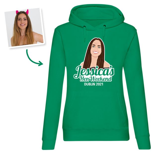 Hen Do Illustration from Photo T-shirt – Illustration, Text, Location on Green Hoodie