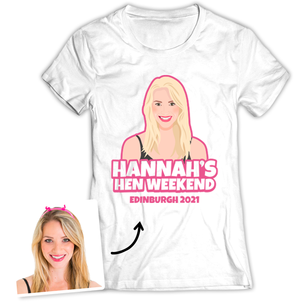 Hen Do Illustration from Photo T-shirt – Illustration, Text, Location on White T-shirt