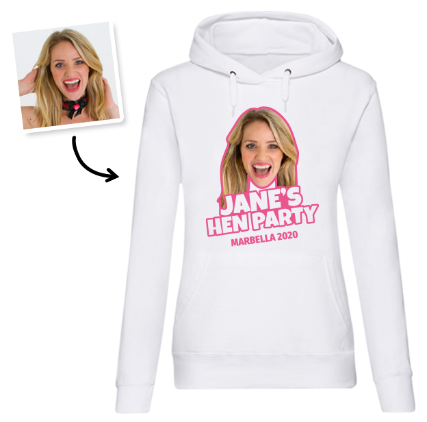 Hen Do Photo T-shirt – Photo, Text, Location on White Hoodie