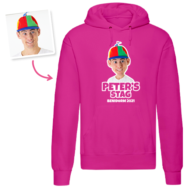 Stag Do Caricature from Hoodie T-shirt – Caricature, Text, Location on Pink Hoodie