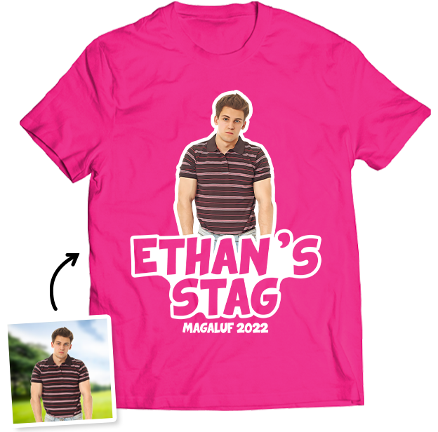 Stag Do Photo T-shirt – Photo, Text, Location on HotPink T-shirt
