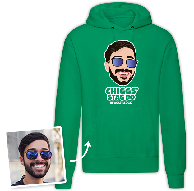 Stag Do Illustration from Photo Hoodie – Illustration, Text, Location on Pink Hoodie