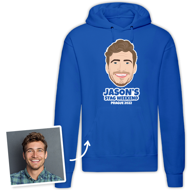 Stag Do Illustration from Photo Hoodie – Illustration, Text, Location on Blue Hoodie