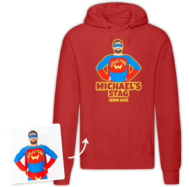 Stag Do Illustration from Photo Hoodie – Illustration, Text, Location on Red Hoodie