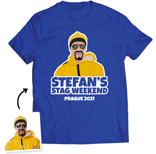 Stag Do Photo T-shirt – Photo, Text, Location on Blue T-shirt