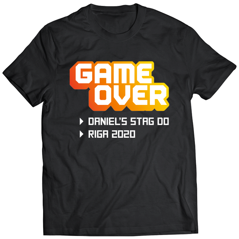 Retro Game Over Stag Do T-Shirt - front view