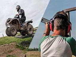 A split image of a quad bike being driven off a metal obstacle and a man aiming a shotgun into the sky