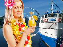 An image of a blue and white boat overlaid with a woman in a Polynesian outfit