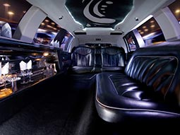 The plush interiors of a party transfer bus