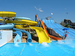 Various coloured slides in a waterpark