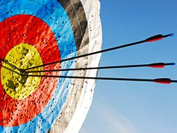 A close up of an archery target with three arrows sticking out of it